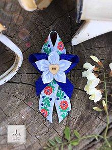 Pierka - Folklórne svadobné pierko modré - 8176936_