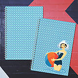 Papiernictvo - MADEBOOK 2 x špirálový zošit A5 - RETRO  letné kúpanie - 8178456_