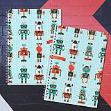 Papiernictvo - MADEBOOK 2 x špirálový zošit A5 - RETRO hipster robots - 8178494_