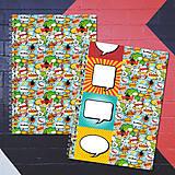 Papiernictvo - MADEBOOK 2 x špirálový zošit A5 - RETRO komix - 8178520_