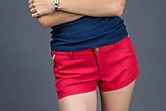 Nohavice - Dámske kraťasy Classic, červené. Dámske 100% konopné kraťasy - 8177295_