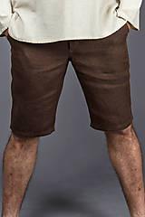 Nohavice - Pánske kraťasy Classic, hnedé. Pánske 100% konopné kraťasy - 8177385_