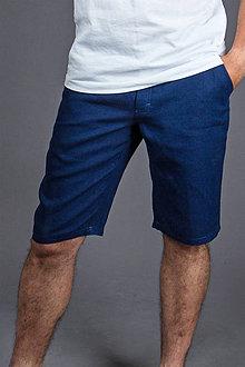 Nohavice - Pánske kraťasy Classic, modré. Pánske 100% konopné kraťasy - 8177287_