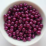 - Voskované perly 4mm-60ks (ruž.fialová) - 8179396_