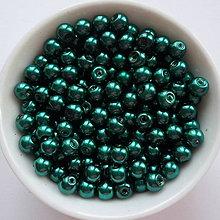 Korálky - Voskované perly 4mm-60ks (zel/modrá tm) - 8179399_
