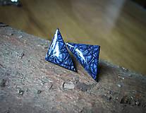 Náušnice - Fialkové trojuholníky 25 mm - 8177538_