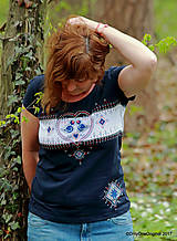 Dámske tričko šité a maľované, folk MODRÔ
