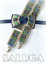 Doplnky - Folklórny pánsky modrý hnedý motýlik a traky - folkový - ľudový - 8178129_