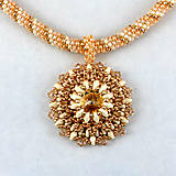 Náhrdelníky - Sv.broskyňový náhrdelník so SW príveskom - 8178195_