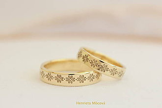 Prstene - Zlaté obrúčky s folklórnym vzorom - Čičmany - 8178663_