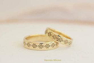 Prstene - obrúčky s folklórnym vzorom - Čičmany (žlté zlato) - 8178663_
