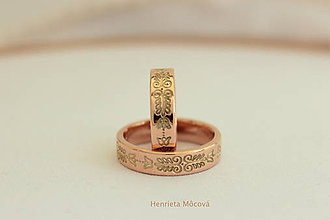Prstene - obrúčky s folklórnym ornamentom - Bratislava (ružové zlato) - 8178701_