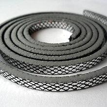 Galantéria - Remienok plochý 5mm-1m (čierna/strieb) - 8182356_