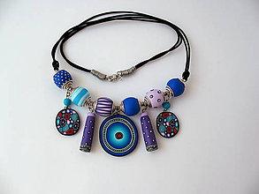 Náhrdelníky - náhrdelník,,Fialky,, - 8181754_
