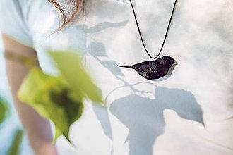 Náhrdelníky - Vtáčik čierny - 8179729_