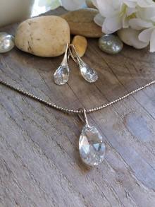 Sady šperkov - Swarovski pear shaped crystal moonlight - 8182645_