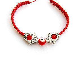 Náramky - red eye hamša - shamballa - 8180511_