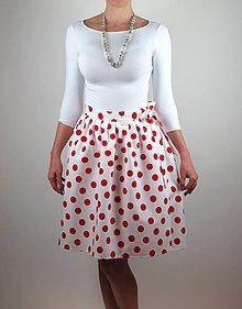 Sukne - Zavinovacia sukňa RETRO white - 8181559_