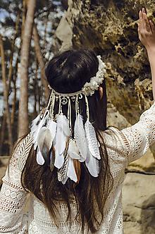 Ozdoby do vlasov - Elastická čelenka s kvetinkami a perím - 8181843_