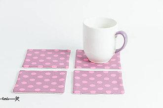 Úžitkový textil - Podšálky - ružové bodky - 8182618_
