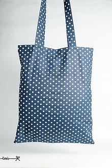 Nákupné tašky - Niečo ako EKOtaška - modrá bodkovaná - 8182706_