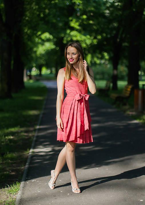 Šaty - LARA, letní zavinovací šaty s límcem, asymetrické - 8186333_