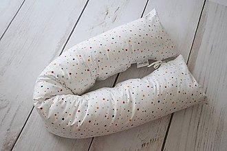 Textil - Medzinožník - valec na dojčenie farebné hviezdičky na bielom - 8184149_