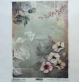 Papier - Ryžový papier na decoupage- A4 -R1062 - kvety, nostalgia - 8184935_