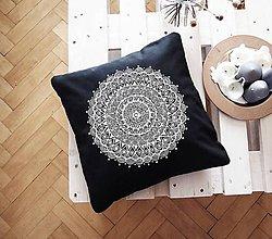 Úžitkový textil - Povlak z mandalovej série-sivobiely 48x48 cm - 8185785_