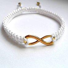 Náramky - Nekonečno zlato-biele - 8185377_