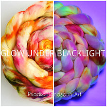 Textil - FLUORESCENT VLNA COLLECTION Česanec na pradenie, plstenie (UV-reactive) - 8184659_