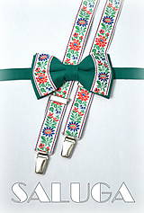 Doplnky - Folklórny pánsky zelený motýlik a traky - folkový - ľudový - 8184731_