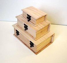 Polotovary - Sada drevených kníh ---- 3 ks-AKCIA - 8186604_