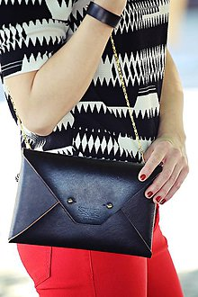Kabelky - Kožená listová kabelka Čierna mini - 8185731_