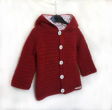 Detské oblečenie - Háčkovaný kabátik Karkulka - 8185451_