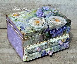 Krabičky - Šperkovnica so zrkadlom vo fialkovo šate - 8186025_