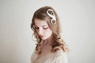 Ozdoby do vlasov - Svadobný fascinátor - slonovinový so štrasom #254 - 8184553_