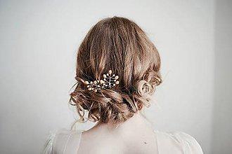 Ozdoby do vlasov - Zlaté perlové vlásenky #258 - 8185140_