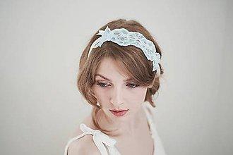 Ozdoby do vlasov - Svadobná čelenka modrá / opasok / podväzok  #263 - 8185221_