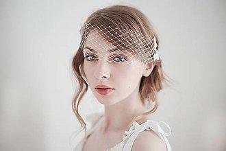 Ozdoby do vlasov - Svadobný závoj úzky s krajkou - sieťka #257 - 8185351_