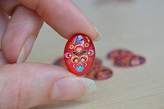 Komponenty - Kabošon sklenený folk červený 13x18mm, 0.65€/ks - 8184187_