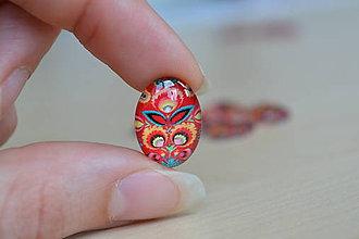 Komponenty - Kabošon sklenený folk červený 13x18mm, 0.65€/ks - 8184211_
