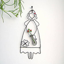 Detské doplnky - dievča s kvetmi a štvorlístkom - 8189053_