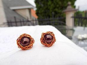 Náušnice - karamelovo čokoládové...napichovacie náušnice - 8187189_