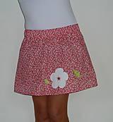 Sukne - Sukienka červená + biely kvet - 8189738_