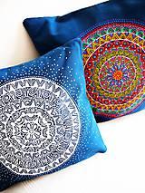 Úžitkový textil - Povlak z mandalovej série-tyrkysovo-biely 40x40 cm - 8188270_
