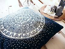 Úžitkový textil - Povlak z mandalovej série-tyrkysovo-biely 40x40 cm - 8188272_