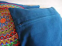 Úžitkový textil - Povlak z mandalovej série-tyrkysovo-biely 40x40 cm - 8188275_
