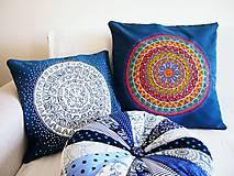 Úžitkový textil - Povlak z mandalovej série-tyrkysovo-biely 40x40 cm - 8188276_