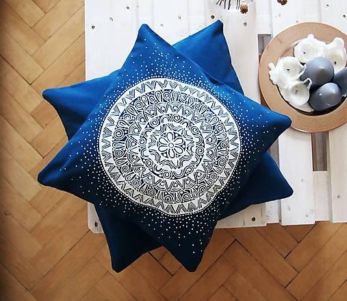 Povlak z mandalovej série-tyrkysovo-biely 40x40 cm
